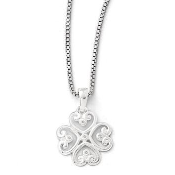 4 Heart Diamond Clover Necklace in Rhodium Plated Silver, 18-20 Inch