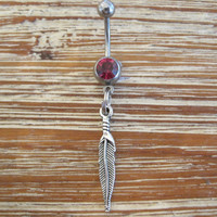 Belly Button Ring - Body Jewelry - Feather with Dark Pink Gem Stone Belly Button Ring