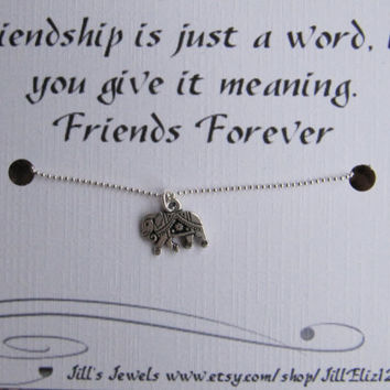 Tiny Small Elephant Charm Necklace and Quote Inspirational Card- Bridesmaids Gift - Friendship Necklace - Friends Forever - Quote Gift