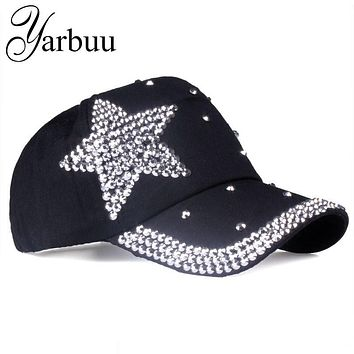 [YARBUU] Brand Baseball Cap with Rhinestone women Five-pointed star casual snapback hat new fashion solid summer sun lady hats