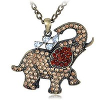 Clear Synthetic Topaz Crystal Rhinestone Water Elephant Happy Walking Zoo Pendant Necklace