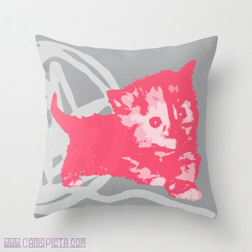 "Here Kitty, Kitty Graphic Print 16"" x 16"" Throw Pillow Cover - Couch Art, Cat, Kitten, Cats, Neon Florescent, Hot Pink, Orange, Chartreuse"