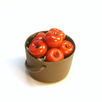 Miniature Metal Pail with Red Apples Fairy Garden Doll House Food