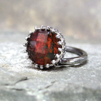 Ammolite Ring with Red Flash set in Sterling Silver by asecondtime