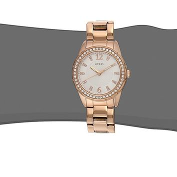 GUESS Women's U0445L3 Rhinestone-Accented Rose Gold-Tone Stainless Steel Watch