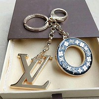 LV Louis Vuitton Round Key Word Key ring Fashion - Buckle Key chain Black