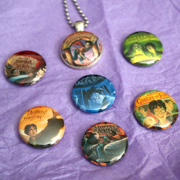 "Harry Potter Book Cover Set 1"" Magnetic Interchangeable Necklace"