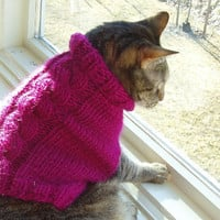 Dog Sweater Hand Knit Flora Cable xSmall Pure Wool by jenya2