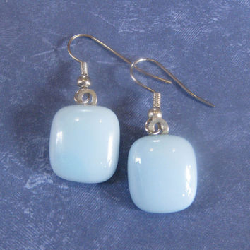 Pierced Fused Glass Earrings Dangle Glass Earrings - Ice Blue -  by mysassyglass