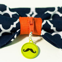 Boys Zipper Bow Tie - Little Boys Bow Tie for Photography Prop in Navy Blue with Mustache Lime Charm for boys and toddlers.
