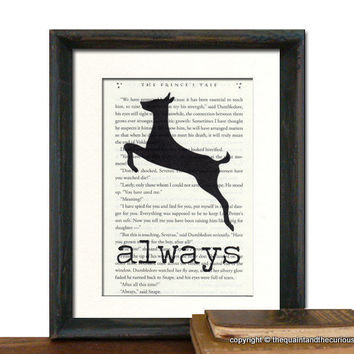 Harry Potter Art Print Decor - Always on Potter Book Page - MATTED
