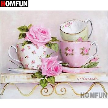 5D Diamond Painting Pink Rose Teacups Kit
