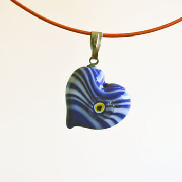 Blue Murano Glass Evil Eye Heart Love Pendant , Lamp Work Heart Necklace,Colorful Bead Pendant, Heart Murano Lampwork Turkish Evil Ey