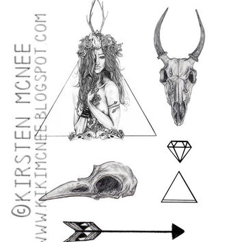 Nature Girl Temporary Tattoos set // animal skulls, girls and triangles