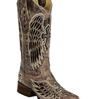 Corral Black Sequin Wing & Cross Inlay Cowgirl Boots - Square Toe - Sheplers