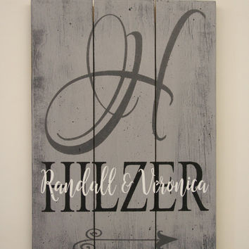 Name Sign Initial Sign Custom Sign Wedding Gift Bridal Shower Gift Distressed Wood Pallet Sign Housewarming Gift Gray Home Decor Vintage