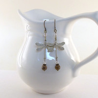Earrings Antique Brass White Washed Dragonflies With Swarovski Crystals