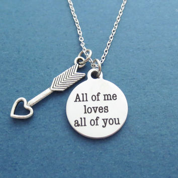 Cupid, Heart, Arrow, All of me loves all of you, John legend, lyric, Necklace, Valentine, Anniversary, Birthday, Gift, Accessory, Jewelry