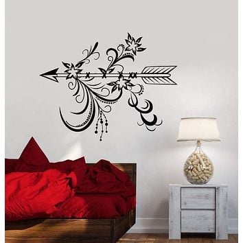 Vinyl Wall Decal Arrow With Flowers Ethnic Style Bedroom Decoration Stickers (2889ig)