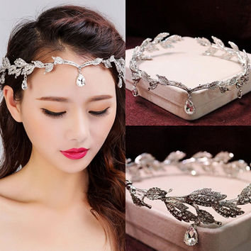 Korean Vintage Crystal Bridal Headbands Wedding Rhinestone Waterdrop Leaf Tiara Crown Headband Frontlet Bridesmaid Hair Jewelry