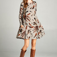 Feather Plumes Dress - Mocha