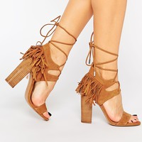 Kendall & Kylie Saree Tan Suede Ghillie Heeled Sandals