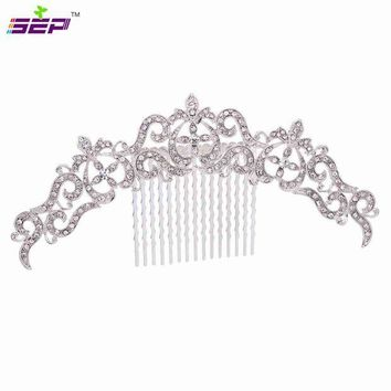 DCCKFV3 Trendy Vintage Silver Hair Combs Rhinestone Crystals Hairpins Bridal Wedding Hair Accessories Jewelry Free Shipping Xby077