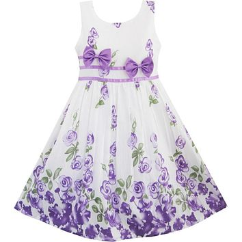 Sunny Fashion Girls Dress Purple Rose Flower Double Bow Tie Party Kids Sundress 2017 Summer Princess Wedding Dresses Size 4-12