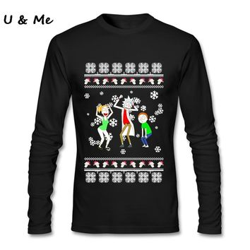 Tee Shirts Man Rick and Morty Classic Collar Christmas Sweater Fit Tops t shirt Adult Clothing