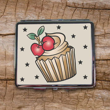 Cupcake Tattoo Cigarette Case - Cigarette Case Wallet - Cigarette Box - Metal Cigarette Case - Cigarette Holder