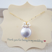 Lavender purple coin pearl and white pearls necklace with gold vermeil chain, wedding, bridesmaid, mother of bride, gift, message card