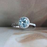 Halo Diamond and 7mm Round Aquamarine Engagement Ring 14k White Gold Wedding   Ring  Blue Aquamarine Ring Gemstone Ring