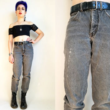 Mom Jeans 80s Jeans 80s Calvin Klein Jeans 80s Clothing Vintage 80s Denim Jeans High Rise Mom Jeans Faded Black Denim 28 Waist Made in USA