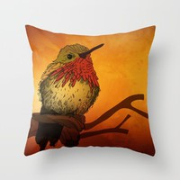 The Sunset Bird Throw Pillow by Texnotropio