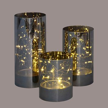 Set of 3 Black and Gold Decorative Galaxy Night LED lighted Glass Jar Decorations