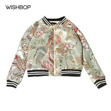 WISHBOP 2017AW Woman Crane Flowers Embroidered Satin-effect Bomber Jacket zipper front Elastic knit collar and hem Long sleeves