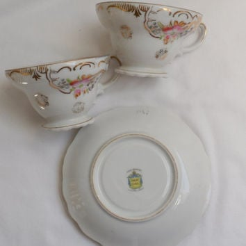 TRIMONT Hand Painted China Cups and Saucers/Two Cups and Saucers/Made in Occupied Japan/1946 to 1952 Occupied Japan Porcelain Cups N Saucers