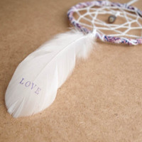 """Dream Catcher - Love - With Floral Frame and """"LOVE"""" Printed Feather - Nursery Mobile, Boho Home Decor, Decoration"""