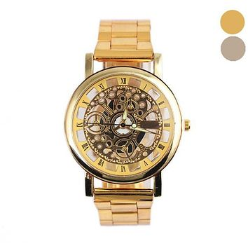 NEW  Relogio Masculino Watch, Men Fashion Steel Strip Mechanical Gear Analog