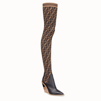 Stocking and black leather thigh-high boots - BOOTS | Fendi | Fendi Online Store