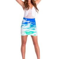 White Wash Mini Skirt - Aqua