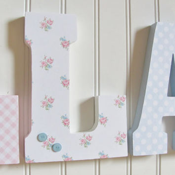 Shabby Chic Nursery Letters, 7 3/4 Inch Wall and Standing Wooden Letters, Nursery Kids Room Decor, Custom Name, Custom Colors, Shabby Letter