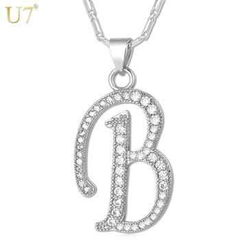 U7 Name Jewelry Alphabet B Letter Necklaces & Pendants Gold/Silver Color Cubic Zirconia Necklace For Women Gift P695