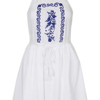 Floral Embroidery Sundress - White