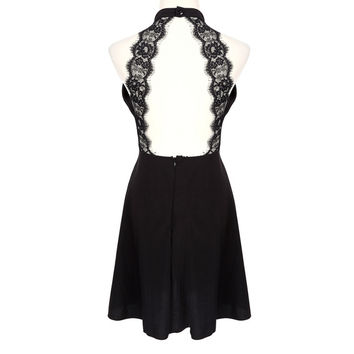 Women Sexy Backless Dress White and Black Lace Sleeveless Dresses Slim Casual Short Dress