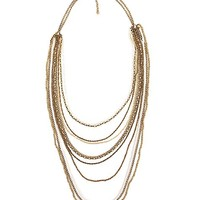 Women's Bead & Chain Necklace in Gold/White by Daytrip.