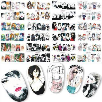 12PCS Personality Cool Girl Water Transfer Nail Art Stickers  Nails Decal Slider Manicure DIY Labels BN253-264