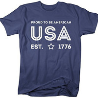 Shirts By Sarah Men's USA T-Shirt Proud To Be American 4th July Shirts