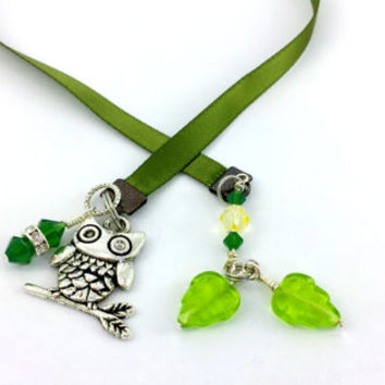 Owl Bookmark, Owl Ribbon, Green Owl, Green Bookmark, Swarovski Crystals, Emerald Green, Silver owl, Owl Charm, Book Thong, Ribbon Bookmark