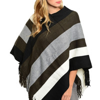 Pullover Striped Knit Poncho W/ Fringe Trim